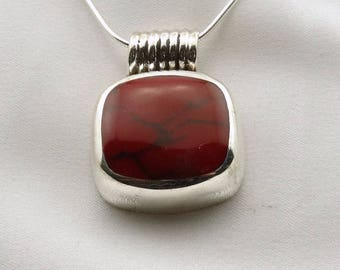 Vintage Sterling Silver and Red Jasper Pendant.  24 Inch Sterling Silver Chain Included! #RED-SPC5
