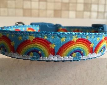 Rainbow Pride Small and Medium Dog Collar with Optional Matching Leash