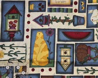 """Wildflower Garden Cat Bunny Birdhouse Water can Birdhouse Flower seed Bird Watermelon House  100% cotton fabric  42""""-44"""" wide"""