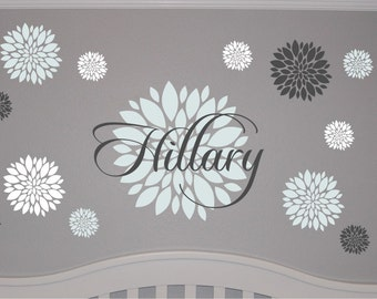 Personalized Flower Monogram with Name Decal Set - Dahlia Flower Decal - Girls Name Flower Decal - Flower Wall Decal & Flower wall decal Set of 12 Flower Wall Decals Vinyl Wall