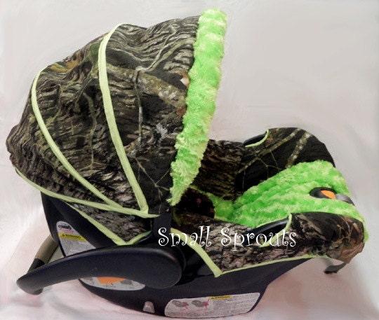 Mossy Oak Breakup Lime Green Minky Swirl Infant Car Seat Cover