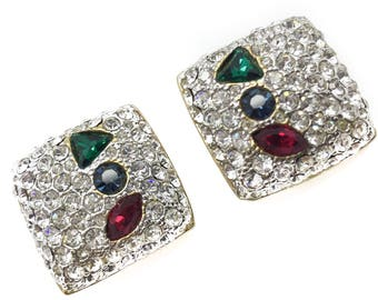 1990s Crystal Jewel Vibe Clip Earrings