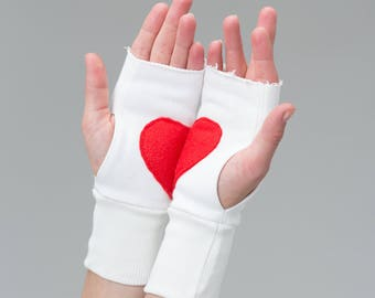 Fingerless Mittens , mother day gift for Her Red Heart Gloves White Wrist Warmers Texting Gloves Writing Gloves Valentines Day Gift A0063