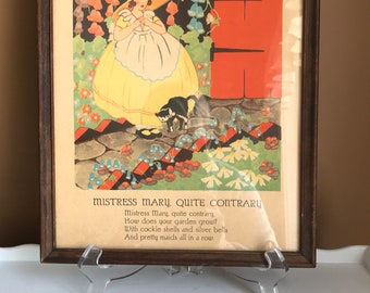Vintage Children's Print/Nursery Rhymes Print /Mistress Mary, Quite Contrary Print/ 1930's Baby's Room