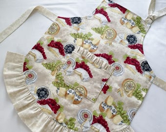 Bib Apron Reversible Adjustable Neck Strap Ruffle Cheese Plates Grapes