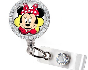 Rhinestone Red Minnie Retractable ID Badge Reel, Nurse Badge Reel