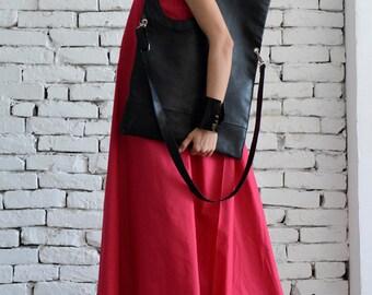 Black Maxi Bag/Extravagant Circle Tote/Genuine leather Black Bag/Large Shoulder Bag/ Open Front Leather Clutch/Black Leather Large Tote