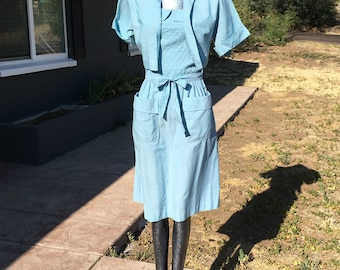 RARE Small Size 4 or 6 Light Blue 1950s Cotton Sundress with Jacket by Tommie Austin Casuals Wiggle Day Dress