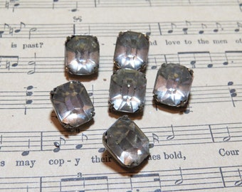 """7 Large Antique Rhinestone Buttons 1/2"""" x 5/16"""""""