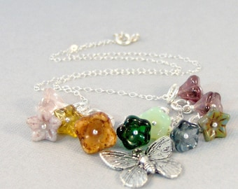 Butterfly Garden,Necklace,Butterfly Jewelry,Butterfly,Butterfly In Handmade,Flower Jewelry,Flower Garden,Wild Flower,butterfly pendant,wings