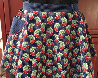 Reversible Apron Navy Blue and Red with Cherries