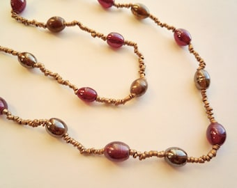 Extra long, 46 inch, glass beaded necklace, Vintage red and gold necklace