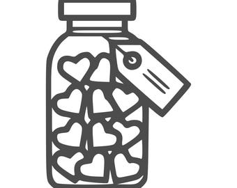 Jar of Hearts SVG, Jar of Hearts Cut Files - SVG, Studio, Studio3 - Silhoutte, Cricut and More - BD249