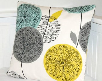 teal blue grey mustard yellow dandelion cushion cover, decorative pillow cover 18 inch
