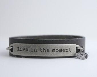 Inspiration Bracelet, Leather Cuff Bracelet, Positive Quote, Inspirational Quote, Quote Bracelet, Mantra Bracelet, Yoga Bracelet
