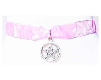 Pastel Choker - Witch - Wicca - Pastel Pentagram - Pastel Goth - Pentacle - Star - Grunge - Metal Choker - Magic - Witch - Tumblr