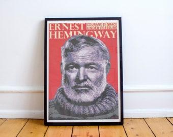 Ernest Hemingway Wall Art Print Poster (Frame Included)