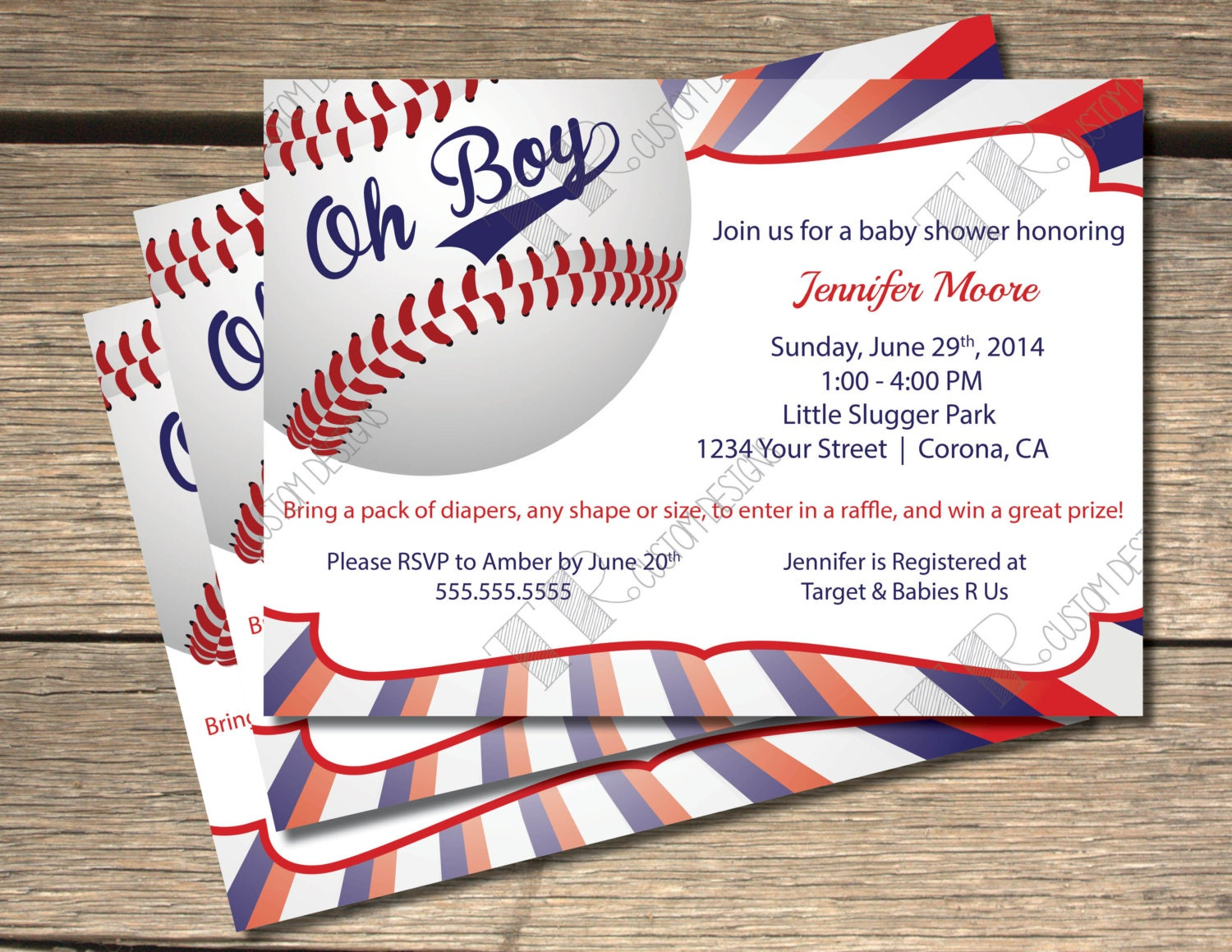 Oh Boy Baseball Themed Baby Shower Invitation 5x7