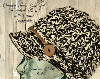 Chunky News Boy Hat-Variegated Blk-Wt with Camel Highlights
