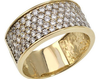 Wide Pave Diamond Band, Pave Diamond Ring, Engagement Ring, 5 Rows Diamond Ring, Pave Wedding Ring, Wedding Set, Fast Free Shipping