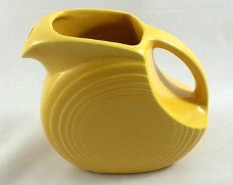Disk Juice Pitcher Yellow Vintage Fiesta Ware Pottery