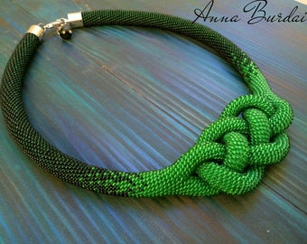 Green crochet rope Statement necklace Josephine knot Seen bead necklace Crochet jewelry Spring necklace Gift for women Big green jewelry