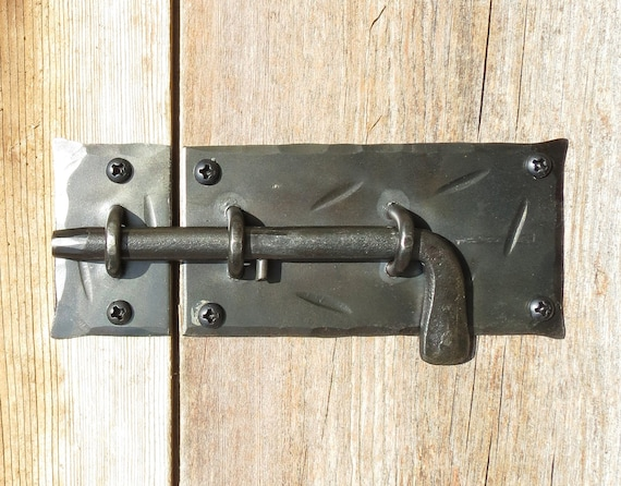 Slide Bolt DOOR LATCH Hand Forged Cabinet Gate Shed Country Antique Wrought  Iron Metal Decor Furniture Cupboard Finger Lock + Black Screws from ... - Slide Bolt DOOR LATCH Hand Forged Cabinet Gate Shed Country Antique