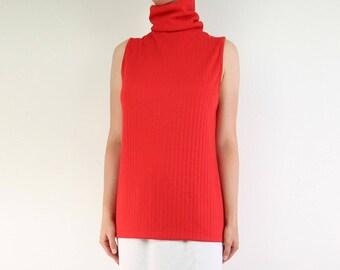 VINTAGE Turtleneck Sleeveless Top 1970s Red Long Medium Large