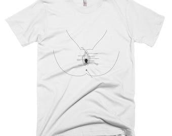 Vagina Short-Sleeve T-Shirt with Vulva Diagram and Label Parts