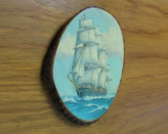 Vintage Tall Ship Print Mounted on Natural Basswood Oval Plaque