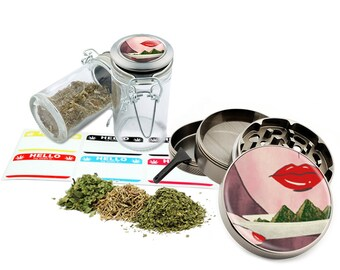 "Rolling Leaf - 2.5"" Zinc Alloy Grinder & 75ml Locking Top Glass Jar Combo Gift Set Item # 50G21916-3"