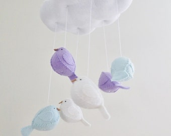 Aqua and lilac baby mobile - cloud and birds nursery decoration.