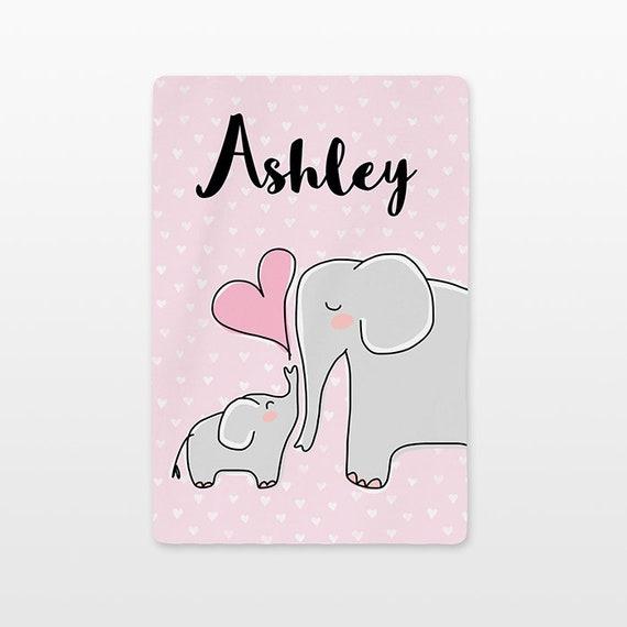 Elephant Personalized Baby Blanket Custom Name Baby Girl Throw Plush Minky Soft Fleece Kids New Baby Gift Idea Cute Animal Gray Light Pink