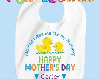 Happy Mother's Day Bib - Boys - Personalized with Name
