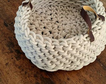 Chunky crochet rope basket with leather handles, Homewares, crochet home decor, storage, Fruit Bowl, ---> Come Stay Large Vessel <---