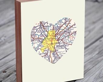 Atlanta Map - Atlanta Art - Atlanta Print - Wood Block Art Print