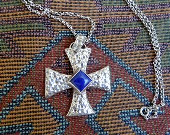 Vintage Sterling Silver Cross Lapis,  Consecration Style, with SS Chain