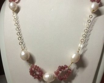 Pink tourmaline necklace, freshwater pearls and 925 sterling silver