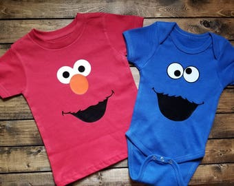 Cookie Monster, Elmo, Oscar Bert, Ernie Sesame Street Shirts Onesies Great Gift Single or Set Personalized