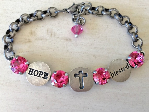 Blessed & Cross Bracelet with October Birthstone Rose Crystals, in Antique Silver