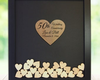 50th wedding anniversary guest book personalized golden