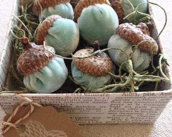 Handmade velvet acorns with real caps/ Aqua / Free US Shipping
