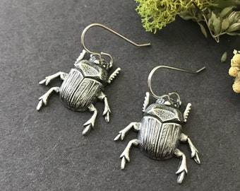 Beetle Earrings, Silver Beetles, Insect Earrings, Brass Beetles, Woodland Bug, Entomologist Gift, Pierced, Dangle, Gothic, Creepy, For Her