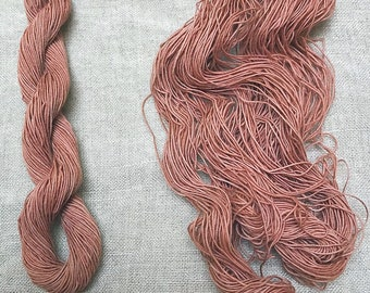 Rose Hip dyed cotton thread for Wabi Sabi, Sashiko Embroidery, Slow stitch and Kumihimo  50 meters.
