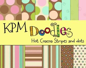 KPM Hot coacoa stripes and dots digital backgrounds
