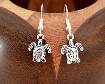Pair of antique silver sea turtle earrings, antiqued silver sea turtle clips