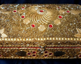 Jewellery Box, Patterned Gold Colour   Indian Wedding Box   Gold Box   India Wedding Gift   Indian Jewellery Box