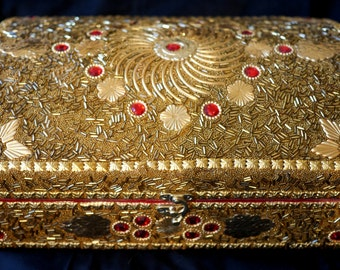 Jewellery Box, Patterned Gold Colour | Indian Wedding Box | Gold Box | India Wedding Gift | Indian Jewellery Box