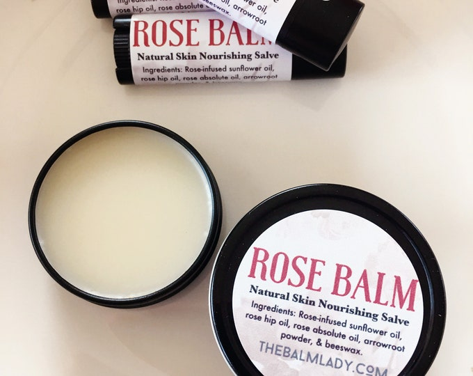 Rose Balm | Natural Skin Nourishing Salve | Organic repair for dry, itchy skin | Winter Skin Care Rose Salve | Rosebud Salve, rosebud balm