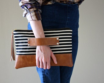 Black and Ivory Striped Canvas Clutch / Kindle Case / Hand Handle
